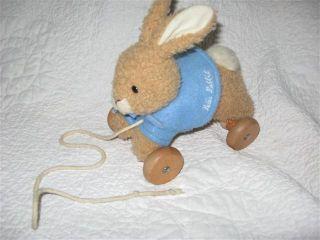 Eden Peter Rabbit Plush Pull Toy Wooden Beatrix Potter