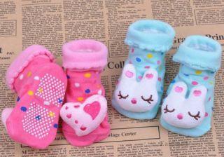 Cute Cartoon Animal Newborn Unisex Baby Warm Socks Indoor Anti Slip Shoes Boots
