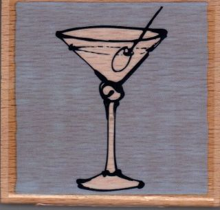 Wood Mounted Rubber Craft Stamp Martini Glass w Olive