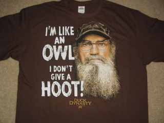 "New Duck Dynasty Shirt SI ""I'M Like An Owl I Don'T Give A Hoot"" Mens Size s XL"