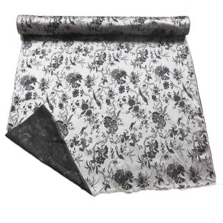 CBS 618 Chinese Brocade Fabric Silver Grey Basic Charcoal N Black Birds and Flor