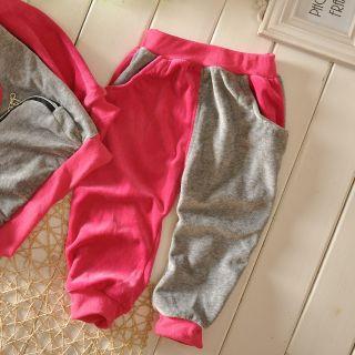 2pc New Baby Kids Outerwear Long Pants Set Clothes Velvet Cartoon Pattern