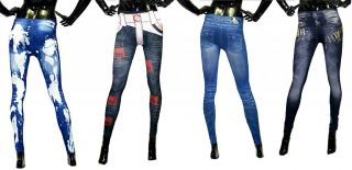Sexy Womens Leggings Jeans Jeggings Ladies Fashion Denim Look Tights UK 6 12