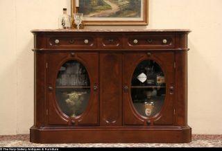Victorian Renaissance 1875 Antique Marble Top Walnut Sideboard Server
