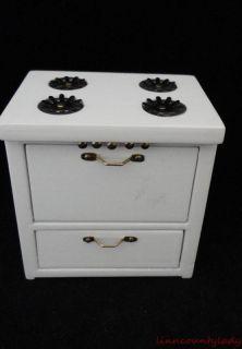 Dollhouse Range Cook Stove White Wood Brass Handles Hinges Doors Open Fr SHP