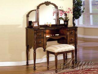 Oak Striped Cream 2 PC Victorian Vanity Table Set