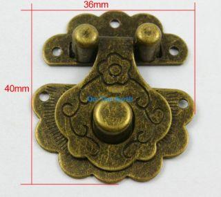 4 Antique Brass Decorative Hasp Jewelry Box Hasp Lock Latch 36x40mm with Screws