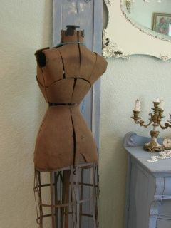 Shabby Old Pinch Waist Mannequin Dress Form Wire Cage