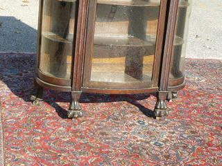 ... Antique Oak Curved Glass Curio China Cabinet Carved Lion Heads Paw Feet  ...