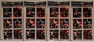 Captain America Stickers Tattoos 32 Plates Napkins 16 Cups Bags Blowouts Masks