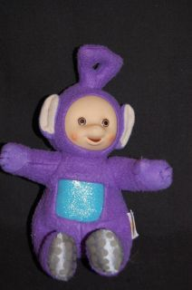 Playskool Teletubbies Tinky Winky Purple Rubber Face Plush Doll Stuffed Toy 7""