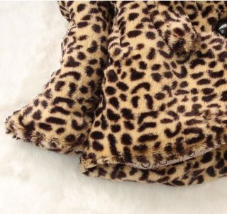Hot Baby Toddlers Girls Faux Fur Leopard Coat Kids Winterwarm Jacket Snowsuit