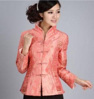 Orange White Chinese Women's Silk Jacket Coat Sz 8 10 12 14 16