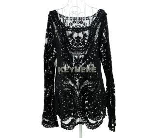 Women Lady Sexy Hollow Floral Lace Pullover T Shirt Knit Crochet Tops Blouse K0E