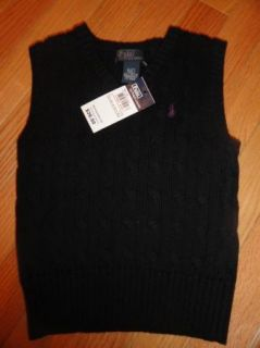 Polo Ralph Lauren Toddler Boys Black Cable Knit Sweater Vest 2 2T $39 50