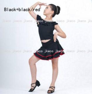 Kid Girl Latin Dance Dress Top Skirt Jive Rumba Child Ballroom Dance Costume