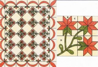Poinsettia Spinning Spools Quilt Pattern w Flexible Templates