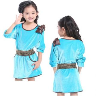 Girls Velet Dress Bow Bat Wing Long Sleeve Kids Party Pageant 8 9Y Clothes Belt