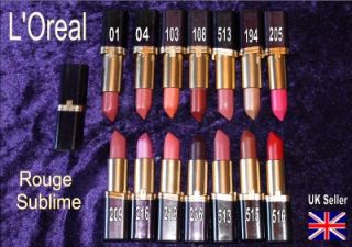 Loreal Rouge Sublime Lipstick Choice of Shade RARE Brown Nude Red Pink Peach