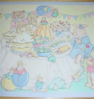 Laura Ashley Teddy Bear Party Yellow Green Baby Girl Nursery Wallpaper Border