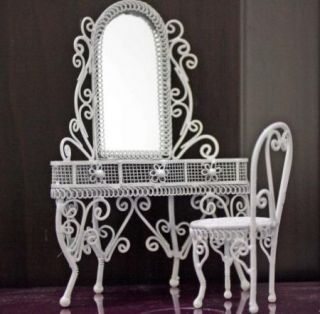 Dollhouse Miniature White Wire Vanity Chair Furniture