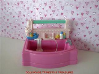 Fisher Price Loving Family Dollhouse Pink Bath Tub Genuine