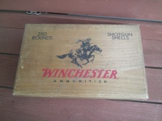 Wooden Winchester Ammunition Ammo Box Shotgun Shells 250 Rounds Rope Handles