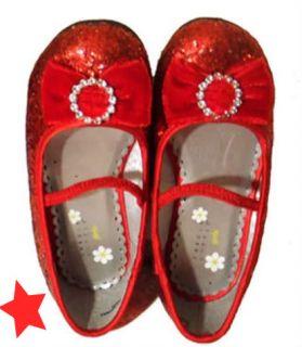 Girls Red Mary Jane Dorothy Wizard oz Glitter Sparkly Shoes Sz 6 Sz 7 Save $5