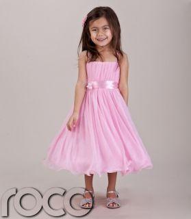 Baby Girls Pink Hoop Dress Bridesmaid Prom Wedding Flower Girls Dresses