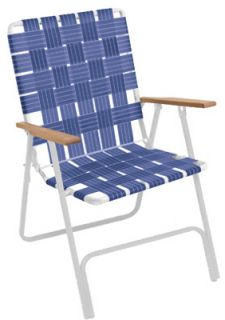 Rio BY105 0138 Hi Back Folding Web Chair w Blue Webbing White Steel Frame