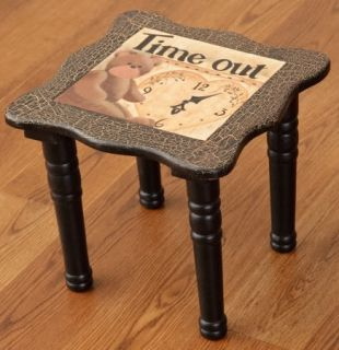 "Small Decorative Time Out Table Stool Teddy Bear Clock Design 11"" x 11"" x 10"" H"