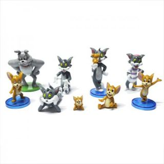 Collection Tom and Jerry Action Figures Cat Mouse Dog Animals Toy 9pcs