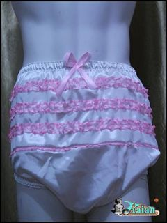 Adult Baby Sissy Satin Frilly Diaper Cover FSP007 4