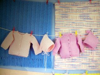 Baby Christening Set Knit or Crochet Patterns Booties