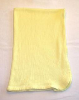 Vintage Curity Yellow Waffle Thermal Knit Baby Blanket Silky Smooth Feel