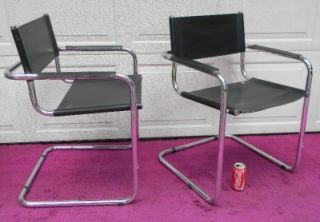 4 Eames Era Mid Century Modern Marcel Breuer Leather Cantilever Chairs Italy