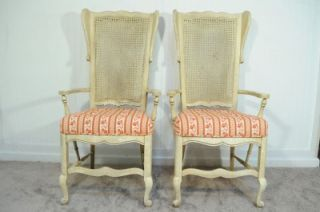 Set 6 Vtg Hickory Mfg Co French Country Distress Ladder Back Cane Dining Chairs