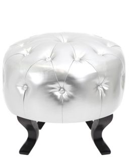 Modern Metallic Silver Round Pouf Crystals Jewel Tufted Bling Ottoman Footstool