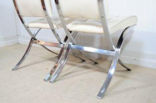 2 Vtg Mid Century Modern Samton Canada Chrome Barcelona Style Dining Side Chairs
