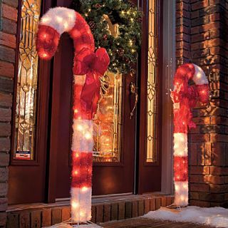 2 Large 4ft Candy Cane Outdoor Light Christmas Yard Decor Stake Bow Peace Tinsel