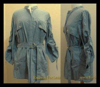 Tory Burch Clothing Women 14 Aaron Blue Chambray Tunic Shirt Tops Blouses Sale