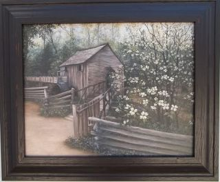 """Saw Mill and Bridges Water Wheel Country Framed Print 14 1 2"""" x 17 1 2"""""""
