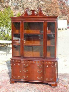 Antique 1950s Flame Carved Mahogany Chippendale China Cabinet