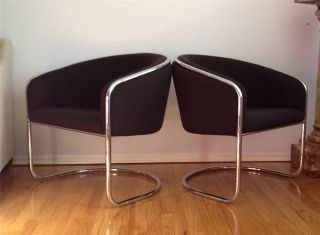 PR Vintage Mid Century Modern Thonet Chrome Cantilever Club Lounge Barrel Chairs