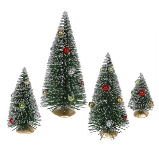 Set 4 Decorated Artificial Mini Village Christmas Trees