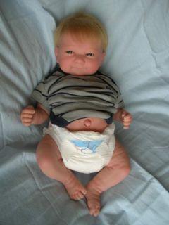 Reborn Berenguer Preemie Baby Boy Doll Grayson Full Vinyl Limbs Blonde Hair