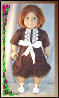 "Doll Clothes School Dress for Kirsten American Girl New 18"" inch Lace Brown Whit"