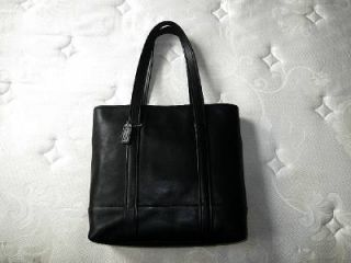 Coach LG Vintage Retro Classic Blk Leather Shopper Shoulder Bag Purse Tote RARE