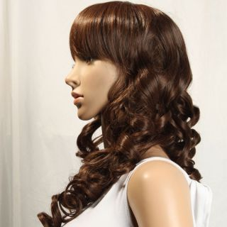 32 7 inch Beautiful Long Brown Curly Hair Wig Fashion Cosplay Wig