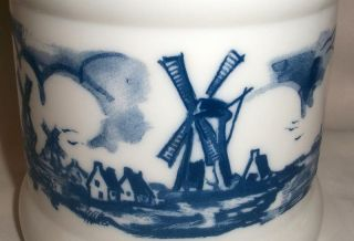 Vintage Blue White Milk Glass Dutch Scene Cigar Jar with Plastic Lid